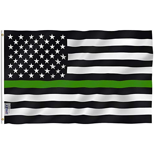 Anley Fly Breeze 3x5 Foot Thin Green Line USA Flag - Vivid Color and UV Fade Resistant - Canvas Header and Double Stitched - Support for Border Patrol Agents Flag with Brass Grommets 3 X 5 Ft ()