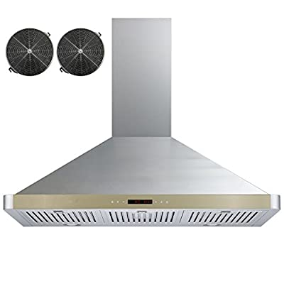 """GOLDEN VANTAGE 36"""" Wall Mount Stainless Steel Ductless Range Hood Kitchen Vent With Golden Control Panel GV-63190D-GLD+CF"""