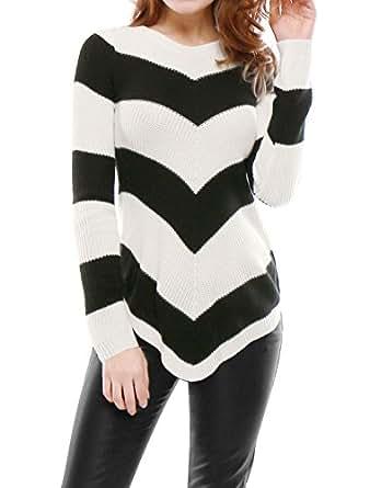 Allegra K Women Zig Zag Pattern Crew Neck Curved Hem Sweater S Black