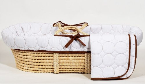 Bacati Quilted Circles Moses Basket, White/Chocolate
