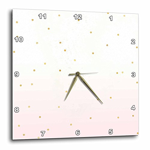 - 3dRose PS Glam - Image of Gold Blush Pink Confetti Dots Ombre - 15x15 Wall Clock (dpp_280676_3)