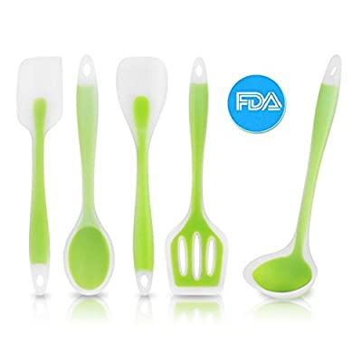 5PC Cooking Utensil Kiki Wendy Silicon Hygienic Semitransparent Heat Resistant Kitchenware (Green)