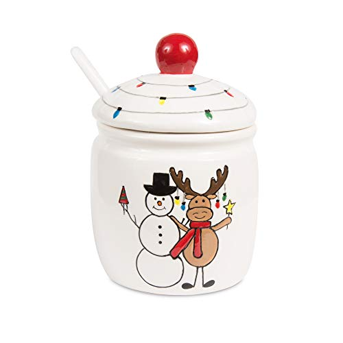 Pavilion Gift Company 81558 Pavilion - Christmas Hugging Snowman & Moose 4.5 Inch Red & White Dolomite Ceramic Su Sugar Bowl & Spoon, 3.5 L x 3.5 W x 4.75 H, Multicolored