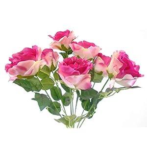 "Open Rose Bush Deluxe 7 Artificial Silk Flowers 21"" Bouquet 772 Fuchsia 113"