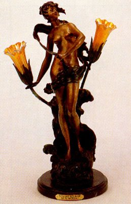 28''H ''Nova Lady with Scarf'' Solid Bronze Sculptural Lamp - After A. Moreau by Artistic Solutions