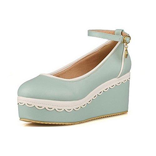 AgooLar Damen Rein Weiches Material Hoher Absatz Schnalle Pumps Schuhe Blau