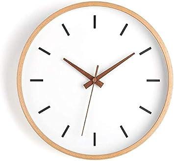 Imagen deHewen 12 Pulgadas Silenciosa Pared Reloj De Pared De Madera Redondo De Cuarzo Reloj Decorativo For El Hogar Escuela De La Oficina Relojes de Pared (Color : B)