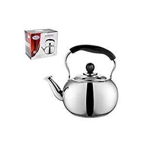 Large 4 Liter Alpine Cuisine Polished Mirror-Finish Stainless Steel Whistling Capsule Base Stovetop Teakettle Tea Kettle Teapot, Gas Electric Induction Compatible