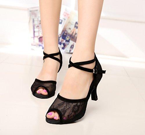 Minishion Qj6220 Femmes Cheville Wrap Maille Salle De Bal Salsa Chaussures De Danse Latine Noir