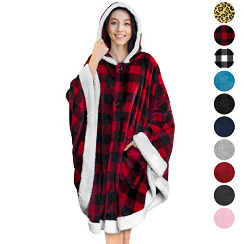 PAVILIA Angel Wrap Hooded Blanket   Throw Poncho Wrap with Soft Sherpa Fleece   Plush, Warm Wearable Blanket with Pockets for Women Gift (Checker Red)