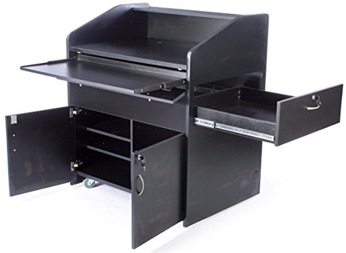 Displays2go Presentation Podium with PC Station, Sliding Drawers, Locking Cabinet, Rolling (LMMD40BK) by Displays2go