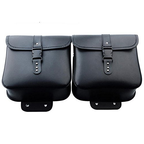 Waterproof 2pcs PU Pouch Black Leather Motorcycle Motorbike Backpack Packet Messenger Handbag Saddlebags Sports Bag Purse Saddle Luggage Tote Crossbody Side Shoulder CddgqrWn