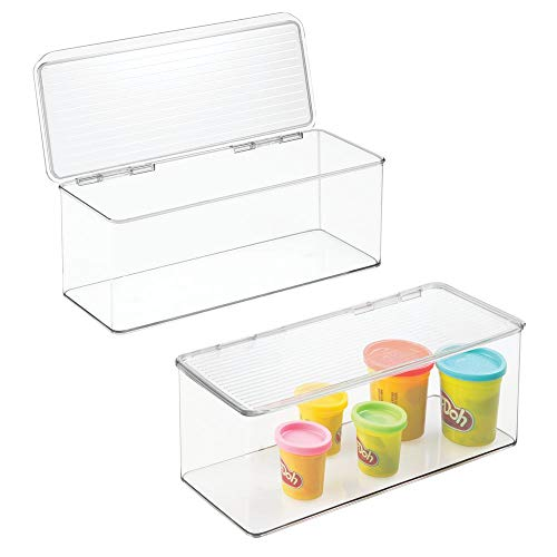 mDesign Stackable Plastic Craft, Sewing, Crochet Storage Container Bin with Attached Lid - Compact Organizer and Holder for Thread, Beads, Ribbon, Glitter, Clay - 13.4 Long - 2 Pack - Clear