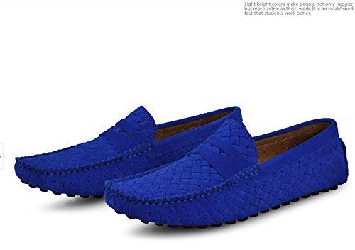 Happyshop (tm) Mens Swede Läder Mockasin Loafers Kör Skor Komfort Slip-on Öre Dagdrivare Lägenheter Safir Blå (urholka)