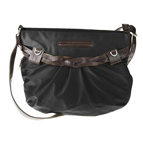 Travelon Nylon Shoulder Bag with Braided Belt Detail (Black)