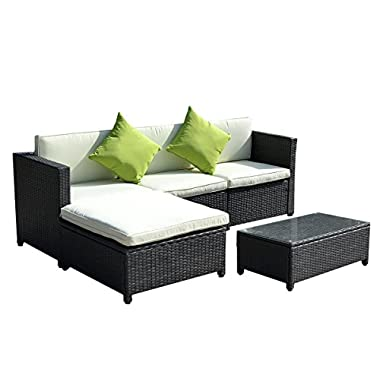 Goplus® Outdoor Patio 5PC Furniture Sectional PE Wicker Rattan Sofa Set Deck Couch Black