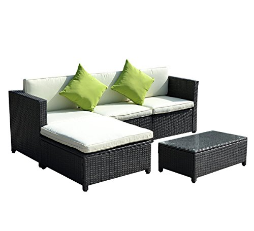 Goplus Outdoor Patio 5PC Furniture Sectional PE Wicker Rattan Sofa Set Deck Couch Black (Sectionals Outdoor Discount)