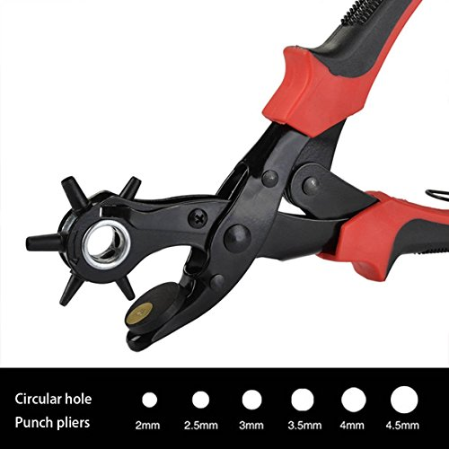 Esup Leather Hole Punch 2.0 mm - 4.5 mm Hole Punch Pliers Leather Belt Heavy Duty Metal Tool (Hole Leather)
