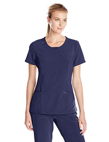Cherokee Women's Infinity Crew Neck Scrubs Shirt, Navy, Medium (Cherokee Scrub Top Women)