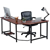 Fineboard Stylish L-Shaped Office Computer Corner Desk Elegant & Modern Design, Red/Black