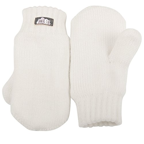 Toddler kids warm fleece lined knit mittens with thumb for fall winter (Mitten M: 9-36m, Cream White)