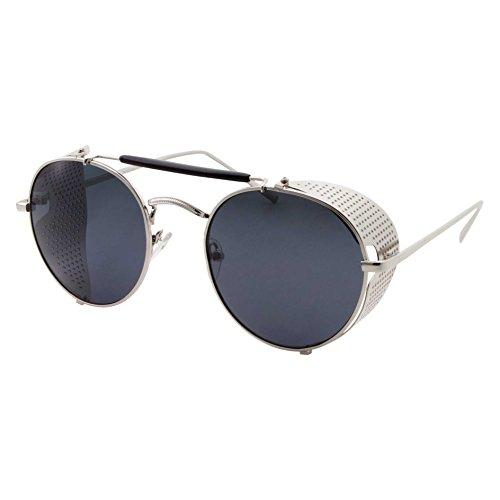 Vintage Retro Circle Steampunk Sunglasses Glasses, Silver/Black - Side Shields Steampunk With Sunglasses