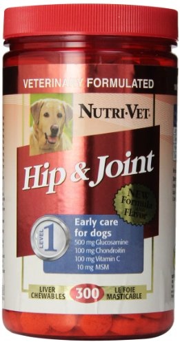 Nutri-Vet Hip & Joint Level 1 Chewables Tablets for Dogs, 300 Count