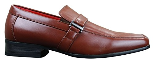 Buckle Brown Slim Wedding On Office Tan Wood brown Formal Mens PU Shoes Leather Smart xCgZqw