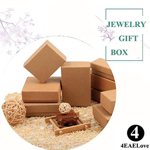 4EAELove - Caja de cartón joyería, Cuadrada, Gruesa, de Color café, Relleno de algodón, 12 Unidades, Marrón, 12 Piezas