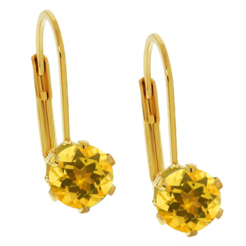 Gem Stone King 1.40 Ct Round Shape Yellow Citrine Yellow Gold Plated Brass Stud Earrings ()