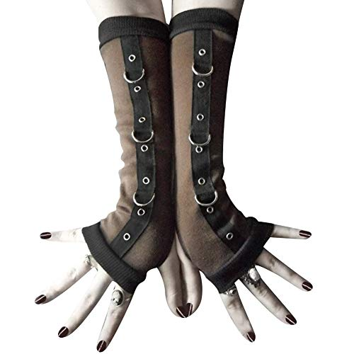 Acamifashion Warm Winter Gloves Punk Women Fingerless Gloves Metal D-ring Arm Warmer Sleeves With Thumb Hole