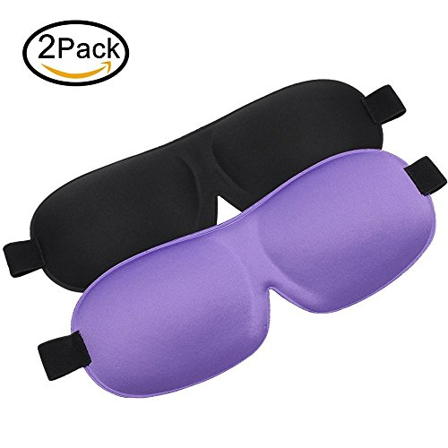 Sleeping Mask 2 Pack Eye Mask for Sleeping Contoured Shape Ultra lightweight & Comfortable 3D Sleep Mask for Travel, Nap, Shift Works (Black & Purple)