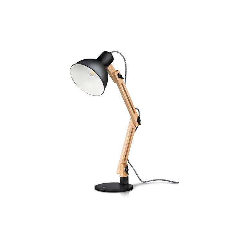 Tomons Swing Arm LED Desk Lamp, Wood Des