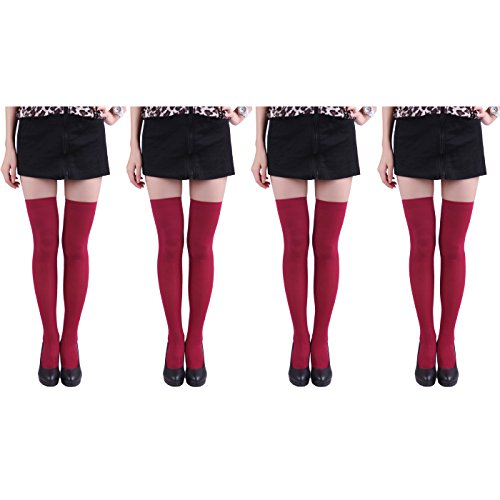 HDE Women's 4-Pack of Solid Color Opaque Sexy Thigh High Stockings Socks (Wine Red) (Red Opaque Thigh High Stockings)