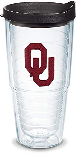 Tervis 1042257 Oklahoma Sooners Logo Tumbler with Emblem and Black Lid 24oz, Clear ()