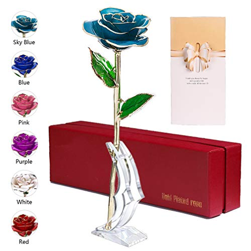 - anaoo 24K Gold Rose with Gift Box and Card Unique for Mother's Day Valentine's Day Anniversary Birthday Wedding with Stand for Her/Mom/Wife/Girlfriend/Hostess (Light Blue)