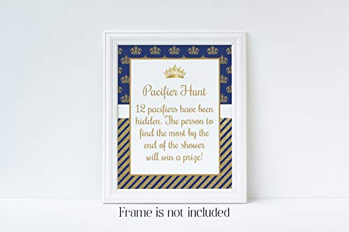 Frame Blue Prince (Pacifier Hunt Game, Prince Baby Shower, Blue and Gold Baby Shower, Baby Shower Games, 8x10 Glossy Sign, Frame is NOT included)