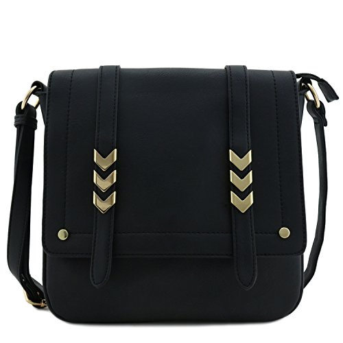 Double Compartment Large Flap Over Crossbody Bag Black
