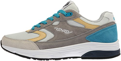SNRD - 714 unisexe incurvé Baskets chaussures de sport - Gris - Gray Blue Yellow, 43,5