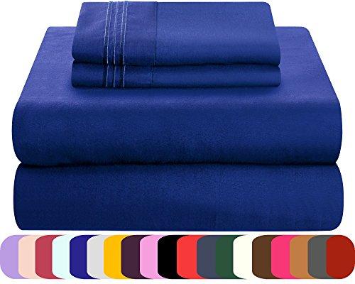 Mezzati Luxury Bed Sheet Set - Soft and Comfortable 1800 Prestige Collection - Brushed Microfiber Bedding (Royal Blue, King Size) Microfiber Solid King Sheet Set