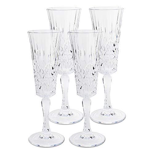 BELLAFORTE – Shatterproof Tritan Plastic Champagne Flute Clear, 6oz, set of 4 Myrtle Beach Dishwasher Safe Plastic…