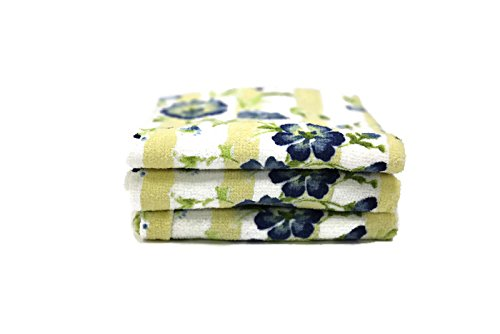 Designer Printed Decorative Everyday Kitchen Dish Towel Set of 3 Cotton Blend (Blue Flowers)