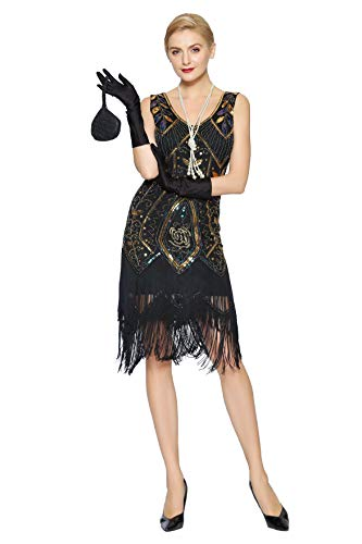 Big Halloween Costumes 2019 (Metme Women's 1920s Vintage Flapper Fringe Beaded Great Gatsby Party Dress Black)