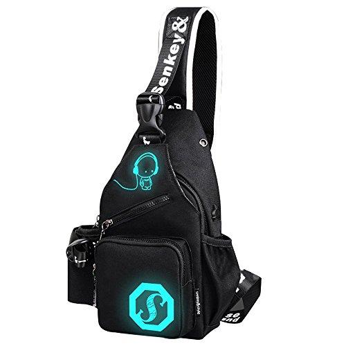 Mens Womens Luminous Sling Bag with USB Charging Port