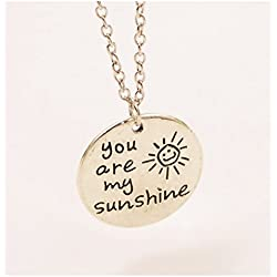 """""""You Are My Sunshine"""" Round Circle Engraved Pendant Smiling Sun Lettered Tag Necklace"""