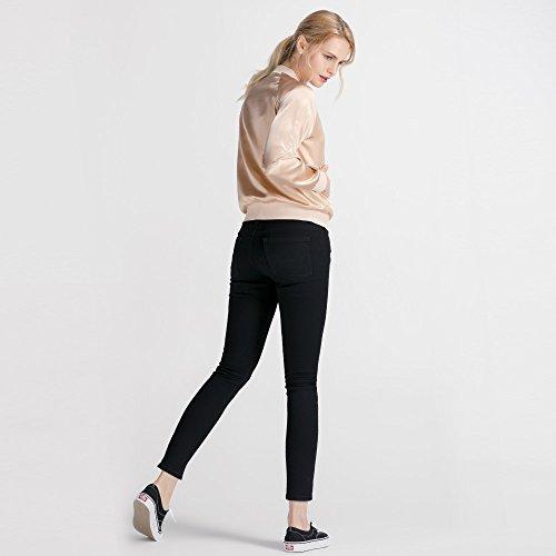 LilySilk Silk Jacket Women Bomber Pure Mulberry 22MM Insanely Comfortable Zipper Long Sleeve Baseball Style Light Camel L/12 by LilySilk (Image #5)