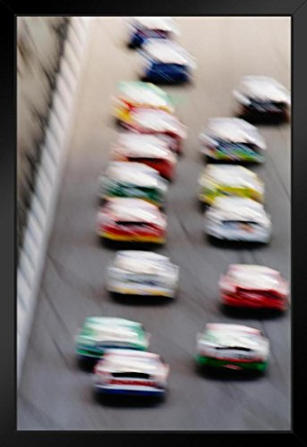 Stock Cars on Race Track Blurred Motion Speed Photo Art Print Framed Poster 14x20 inch