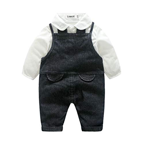 (Baby Boys 2pc Outfits Newborn Baby Boy Gentleman Solid T Shirt Tops + Denim Suspenders Pants Set Outfits (24M, Black))