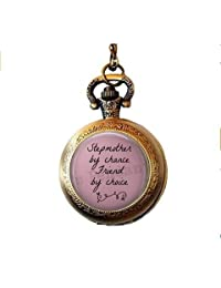 Stepmother by Chance Friend by Choice Pocket Watch Necklace - Stepmother Gift - Stepmom - Stepmother Mother's Day Gift
