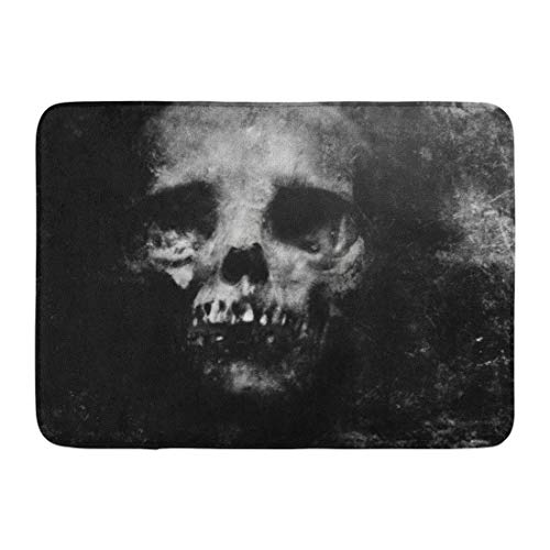 Emvency Doormats Bath Rugs Outdoor/Indoor Door Mat Face Scary Halloween Spooky Skull Zombie Horror Dark Death Skeleton Bathroom Decor Rug 16